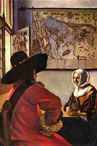 Soldier And Girl Smiling by Vermeer