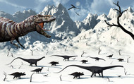 A Tyrannosaurus Rex Stalks A Mixed Herd Of Herbivorous Dinosaurs