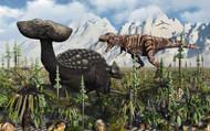 A T Rex Confronts An Ankylosaurus Dinosaur II