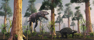 A Tyrannosaurus Rex Tracking Down A Lone Ankylosaurus Dinosaur