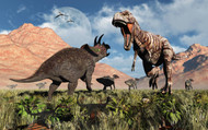 Prehistoric Battle Between A Triceratops And Tyrannosaurus Rex