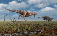 A Tyrannosaurus Rex Giving Chase To An Ankylosaurus II