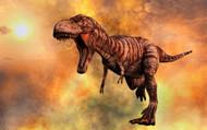 Tyrannosaurus Rex Running From A Deadly Fire Storm
