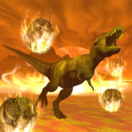 Tyrannosaurus Rex Struggles To Escape From A Meteorite Crash