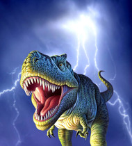 A Tyrannosaurus Rex With A Blue Stormy Sky And Lightning Behind It