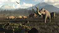 Columbian Mammoths And Bison Roam The Ancient Plains Of North America