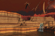 Pteranodon Dinosaurs In A Prehistoric Landscape