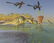 Olorotitan Eat Duckweed In A Large Swamp As Two Microraptors Fly Above
