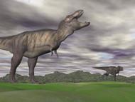 Tyrannosaurus Rex Growling As A Fellow T-Rex Runs Away