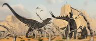A Female Stegosaurus Protects Her Infant From An Allosaurus
