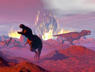 Tyrannosaurus Rex Dinosaurs Escaping A Big Meteorite Crash I