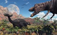 A T Rex Confronts An Ankylosaurus Dinosaur I