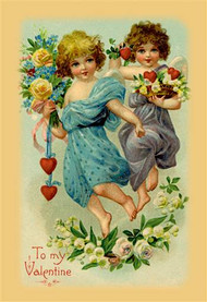 Two Angel Girls With Flowers