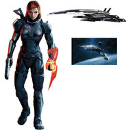 Mass Effect Wall Graphics: Femshep Combo Pack 6 ft tall Femshep + 48 in Normandy Cutout + 24 in Normandy