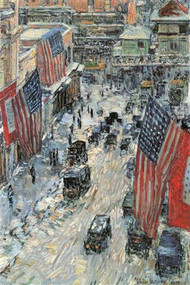 Flags on Fifth Avenue, Winter 1918 by Hassam