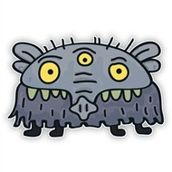Gray Elephant Monster (Three Eyes + Four Legs)