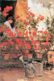 Red Geraniums by Hassam
