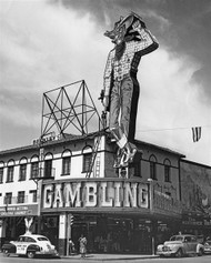 Vegas Vic towering over the Pioneer Club on Fremont Street