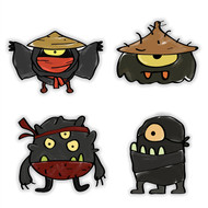 Doodle Jump Ninja Monsters Special Set: 4 Wall Graphics (12 inch)