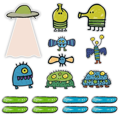 Doodle Jump Classic Mini Wall Graphics Set Of 17 Wall Graphics (6 Inch