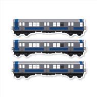 "All City Style Silver Streak: Set of Three 12"" x 3.25"" Premium Blank Classic Train Wall Graphics"