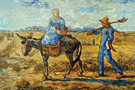 Morning with Farmer and Pitchfork by Vincent Van Gogh