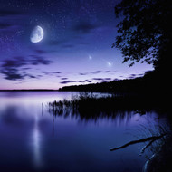 Tranquil Lake Against Starry Sky Moon And Falling Meteorites Russia