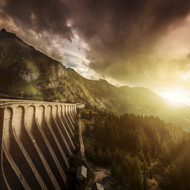 Dam In A Forest On Lake Fedaia At Sunset Northern Italy