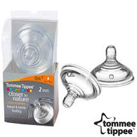 Tommee Tippee 2 pack 'closer to nature' 0m+ SLOW FLOW teats