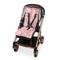 Outlook Get Foiled Universal Cotton Pram Liner - Peach with Gold Crowns