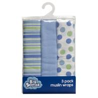 Big Softies 3 pack Muslin Wraps – Boy