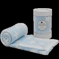 Living Textiles Knitted Jacquard Star Blanket - Blue