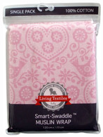 Living Textiles Smart Swaddle Muslin Wrap - Pink Birds
