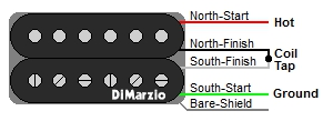 DiMarzio 4-Wire Humbucker Wire Color Codes