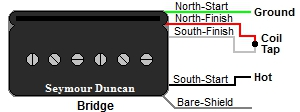 Seymour Duncan P-Rails Bridge Humbucker Wire Color Codes