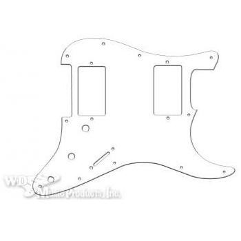 Strat 2 Humbucker Pickguard-3Ply White