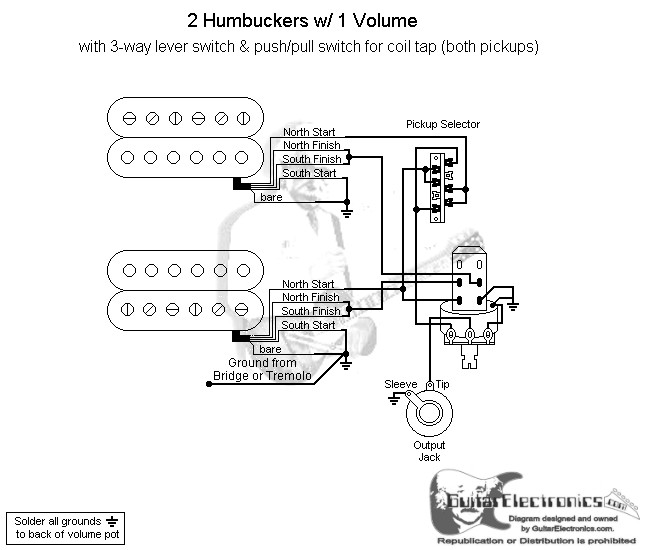 Dual Humbucker Wiring Diagram : Humbuckers way lever switch volume coil tap