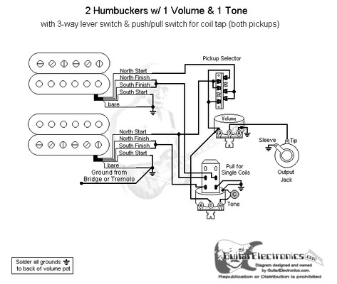 Humbuckers 3 way lever switch 1 volume 1 tone coil tap on 2 humbucker wiring 3 way switch 3 Way Electrical Wiring 3 Way and 4 Way Switch Wiring