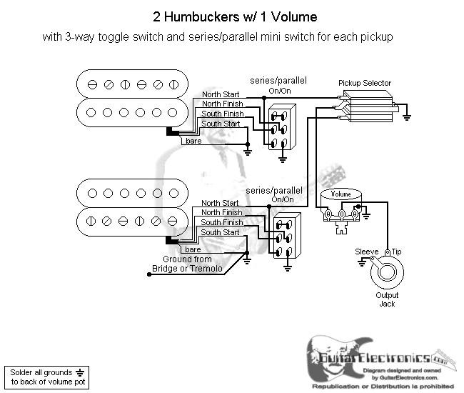 2 humbuckers  3 1 volume  series parallel