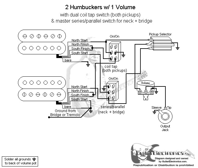 on 2 humbucker wiring diagrams volume 1 tone parallel series
