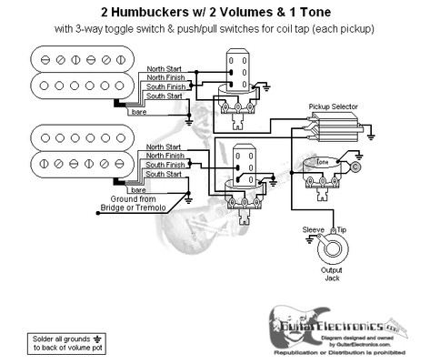 Guitar wiring together with Single Coil Wiring Diagram likewise 2 Humbuckers 3 Way Toggle Switch 2 Volumes 1 Tone Individual Coil Taps additionally 985234 Harmony H1 H601 Lap Steel Guitar Wiring Diagram as well 40180621650829177. on volume one humbucker diagram