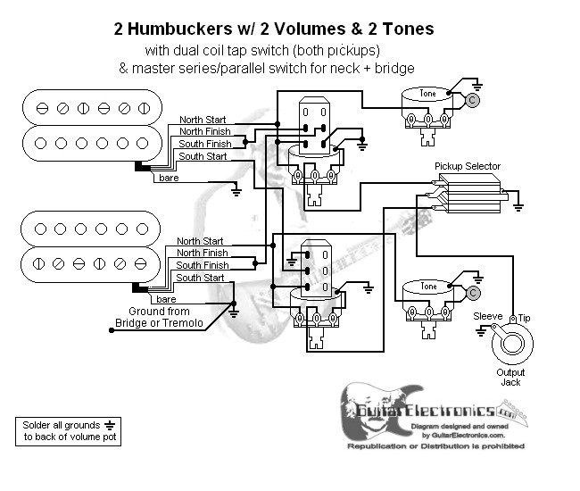 59 Seymour Duncan Coil Tap Wiring Diagram: 2 HBs/3-Way Toggle/2 Vol/2 Tones/Coil Tap & Series Parallel