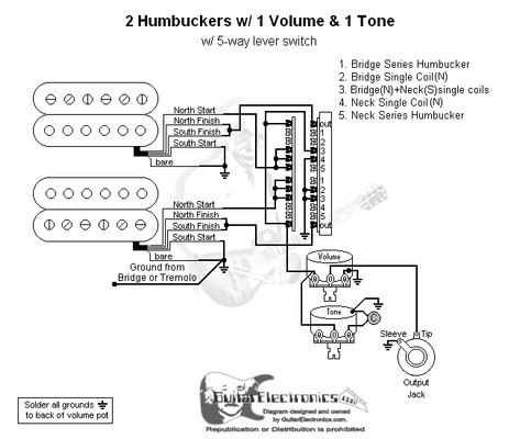 Humbuckers 5 way lever switch 1 volume 1 tone 01 on 2 humbucker wiring 3 way switch 4- Way Switch 2 humbucker 2 volume 2 tone wiring