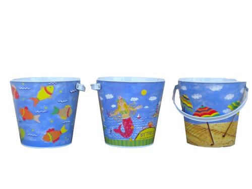 Set of 3 Vintage Style Beach Buckets  Nautical Seasons