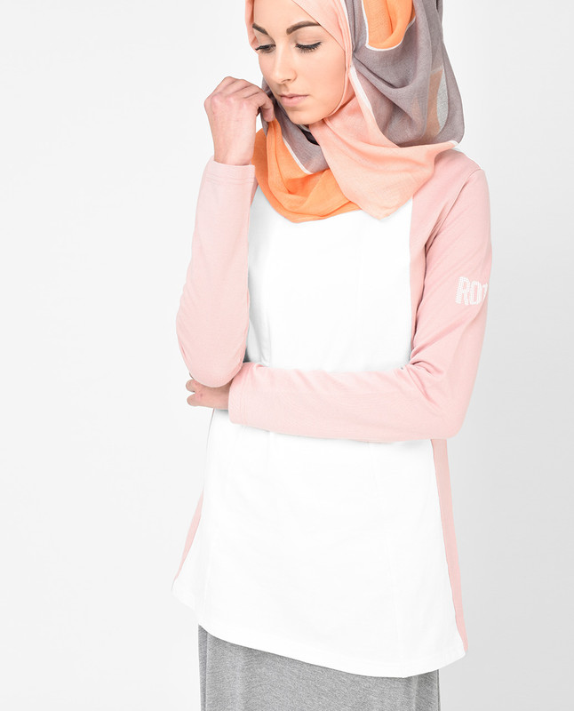 White and Dusty Pink Top