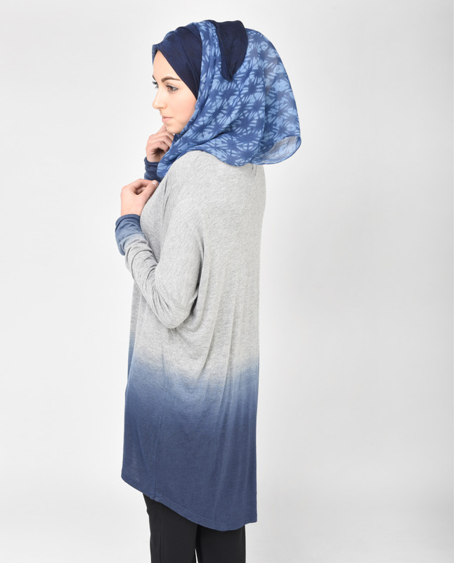 Light Grey and Petrol Blue Top
