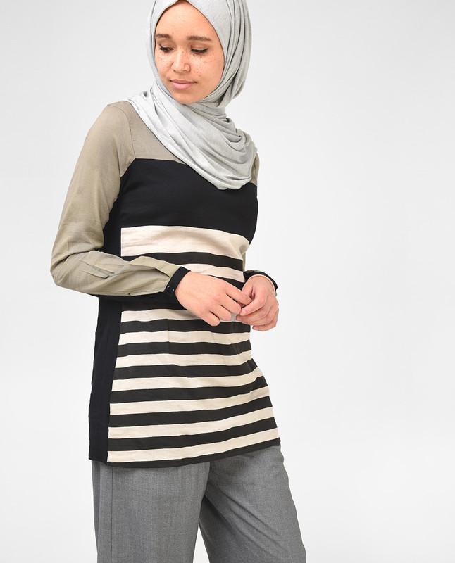 Black and Khaki Striped Top