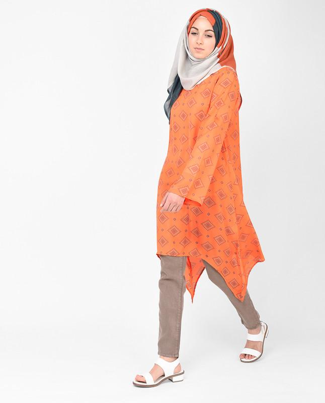 Arabesque Orange Chiffon Loose Fit Long Top