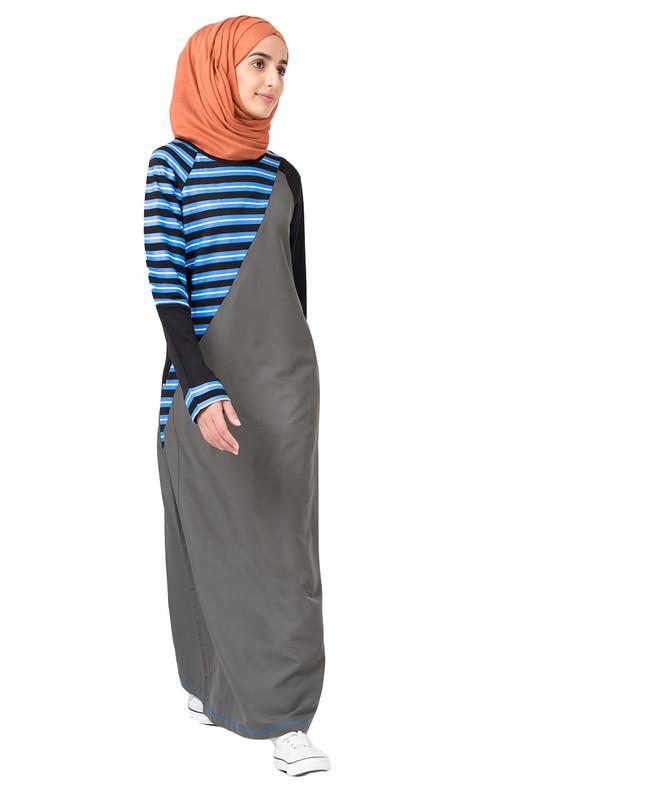 Grey In Stripe Jilbab
