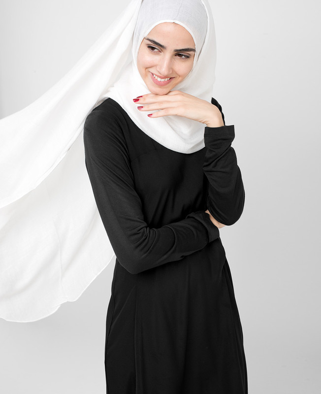 Pinless Bright White Viscose Hijab